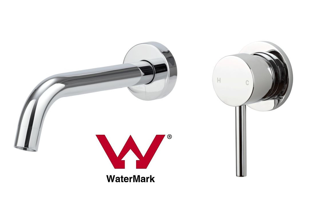 Watermark Round 1//4 wall top assemblies Black Orbital wall taps bath basin spout